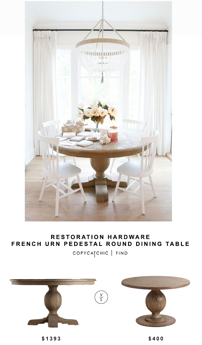 Restoration Hardware French Urn Pedestal Round Dining Table for $1393 vs World Market Round Blanca Table $400 copycatchic luxe living for less home decor