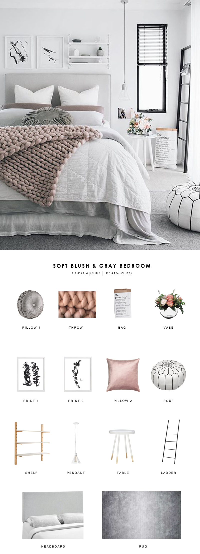 This soft, Scandinavian bedroom by Oh Eight Oh Nine gets recreated for less by Copy Cat Chic luxe living for less room redo budget home decor