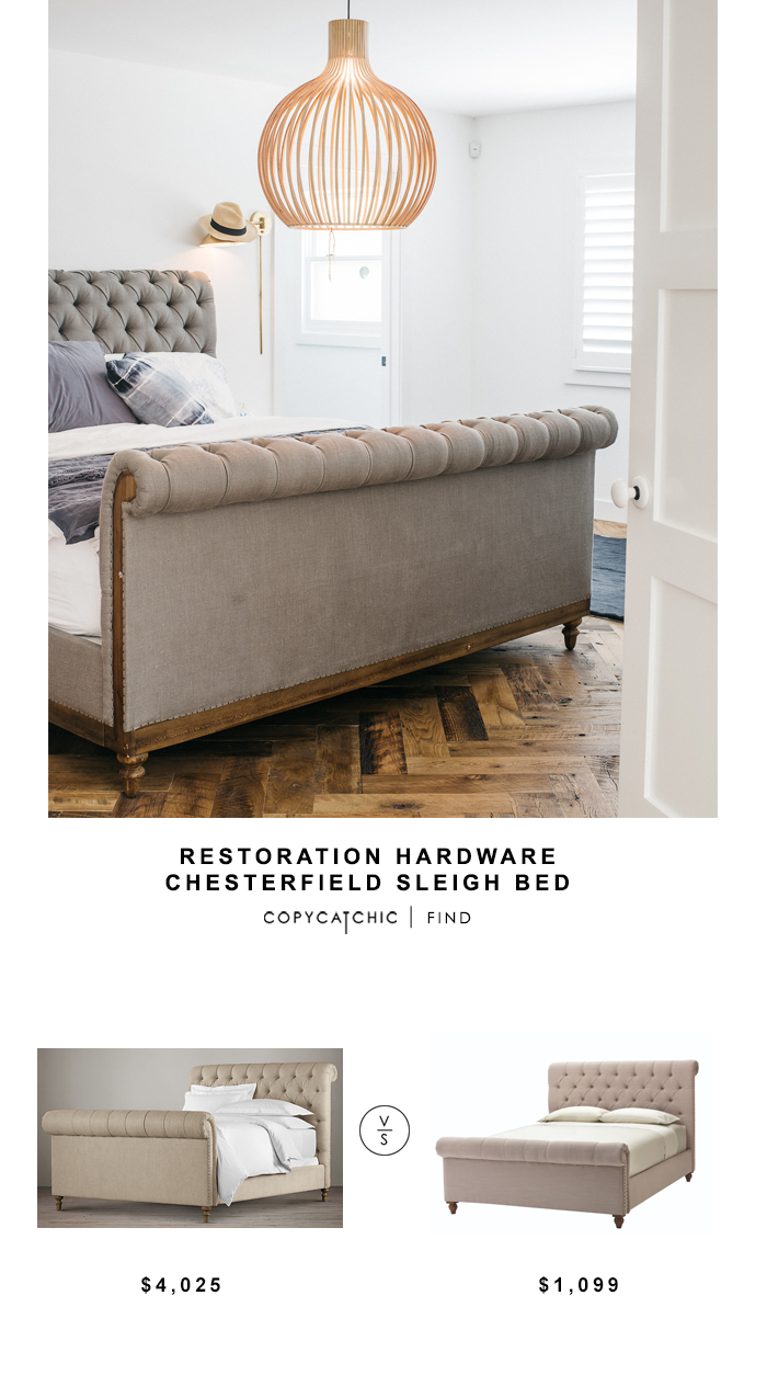 Restoration Hardware Chesterfield Sleigh Bed for $4025 vs Home Decorators Collection Gordon Bed for $879 copycatchic luxe living for less budget home decor