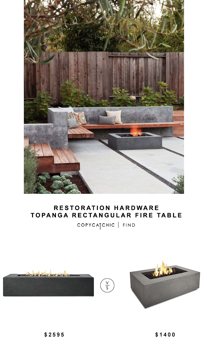 Restoration Hardware Topanga Rectangular Fire Table for $2595 vs Real Flame Baltic Rectangular Fire Pit Table for $1400 copycatchic luxe living for less