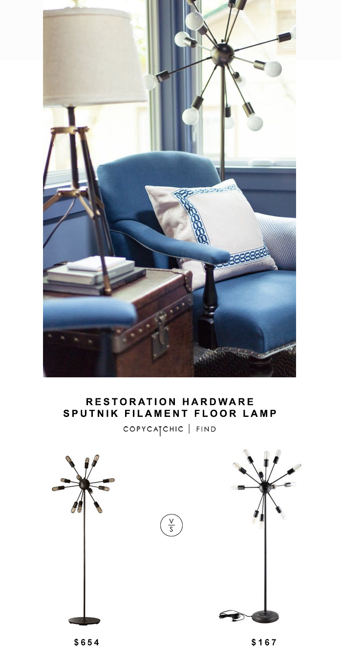 Restoration Hardware Sputnik Filament Floor Lamp $645 vs Modway Spectrum Floor Lamp for $167 copycatchic luxe living for less budget home decor and design