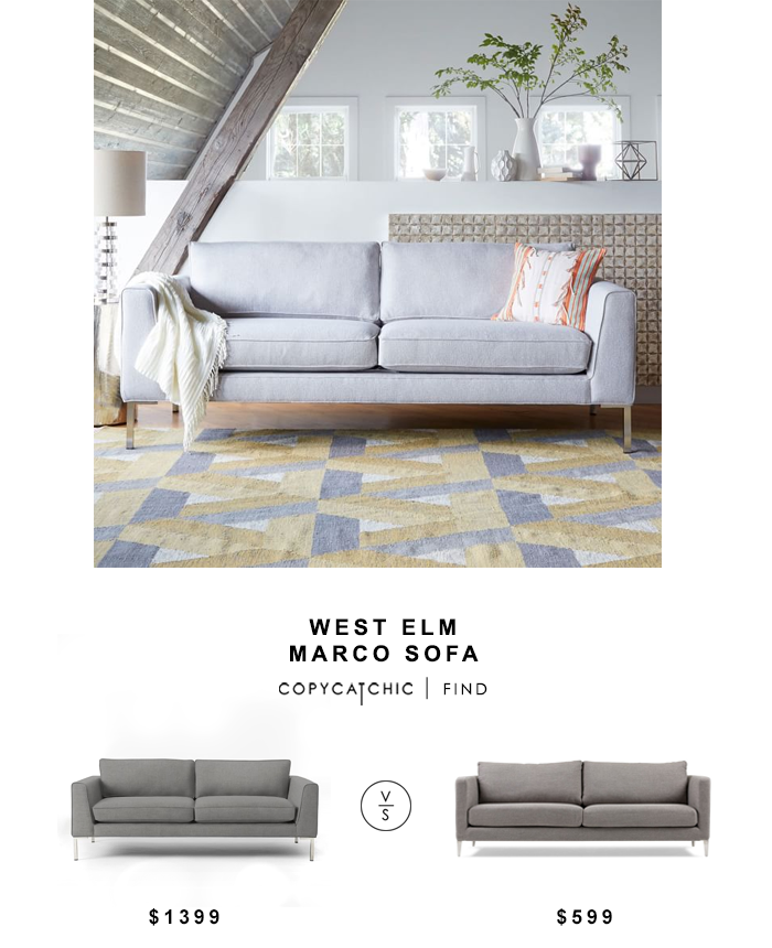 West Elm Marco Sofa for $1399 vs Carine 3-Seater Sofa for $599 copycatchic luxe living for less budget home decor and design looks for less