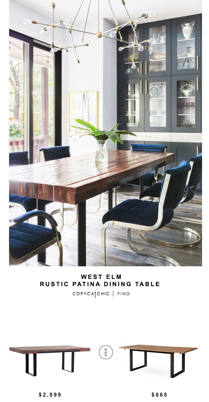 West Elm Rustic Patina Dining Table for $2599 vs Tov Carter Rustic Elm Table for $665 copycatchic luxe living for less budget home decor and design