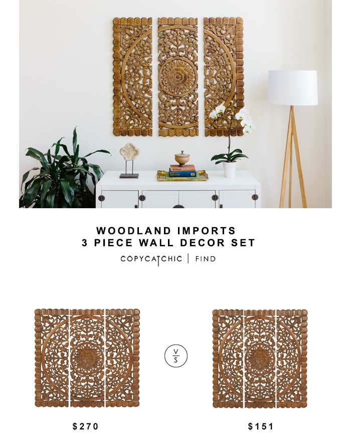 Woodland Imports 3 Piece Wall Decor Set for $270 vs Benzara Wall Plaque for $151 copycatchic luxe living for less budget home decor & design looks for less