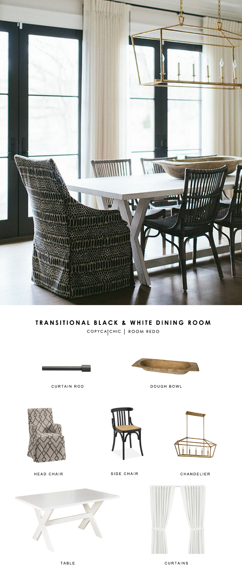A transitional black and white dining room by Kate Marker Interiors gets recreated for less by copycatchic luxe living for less budget home decor and design