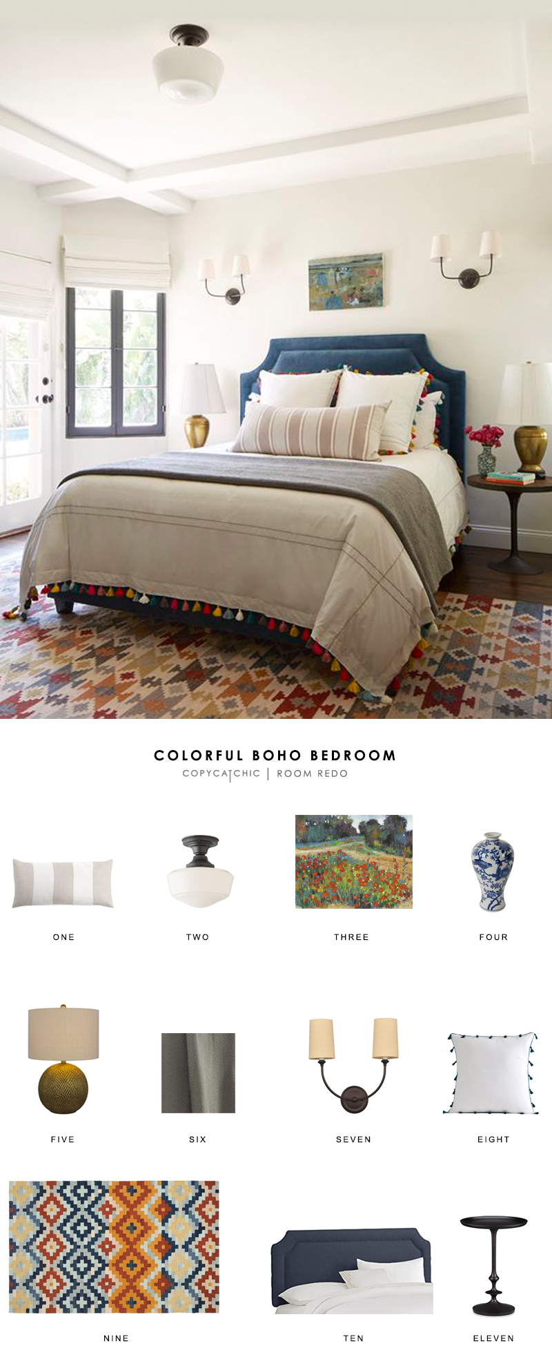 A colorful boho chic bedroom by Emily Henderson gets recreated for less by copycatchic luxe living for less budget home decor and design