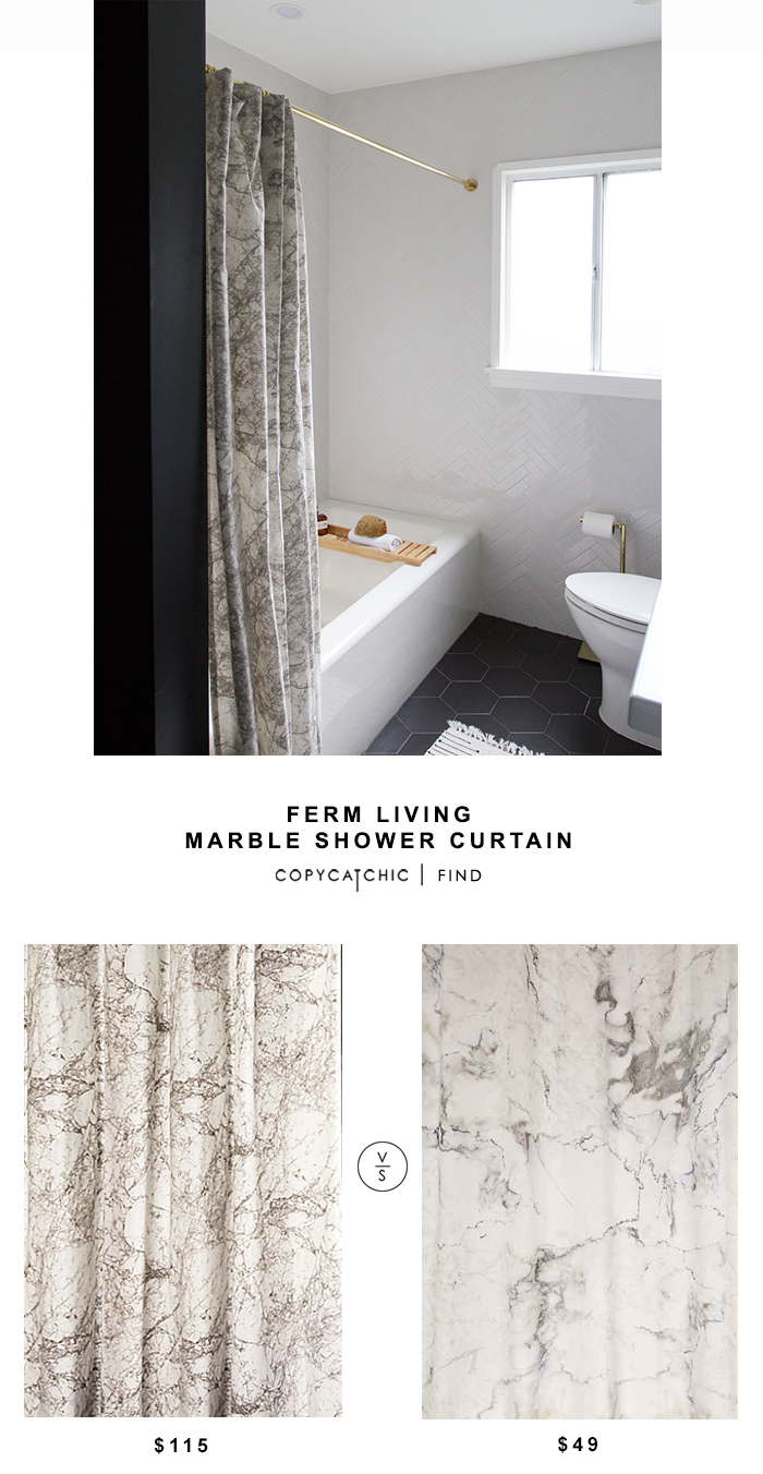 Ferm Living Marble Shower Curtain for $115 vs Urban Outfitters Marble Shower Curtain for $49 copycatchic luxe living for less budget home decor and design