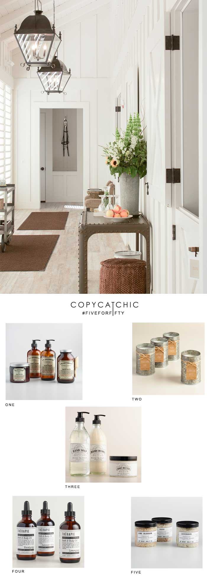 Copycatchi #fiveforfifty products from World Market to create a home spa bath salts, candles, balms, soaps for spa lovers! Luxe living for less