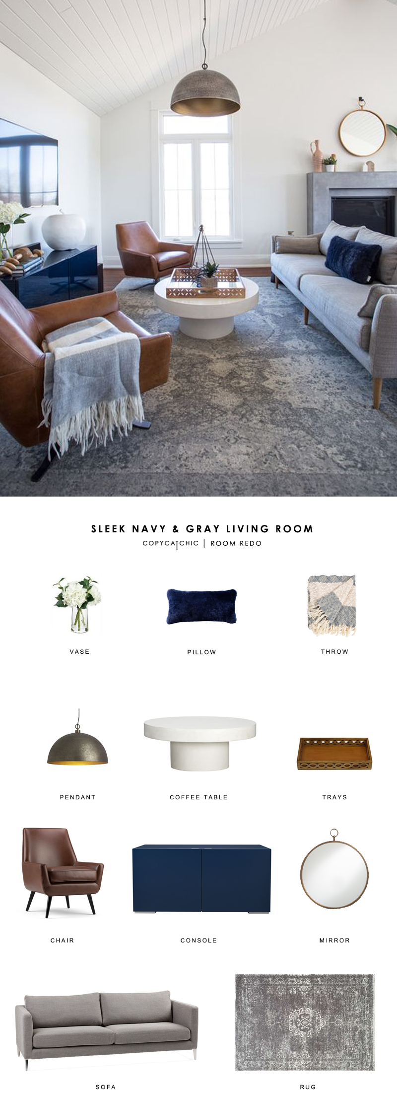 This navy and gray midcentury meets modern farmhouse living room by Coco & Jack gets recreated for less by copycatchic luxe living for less budget home
