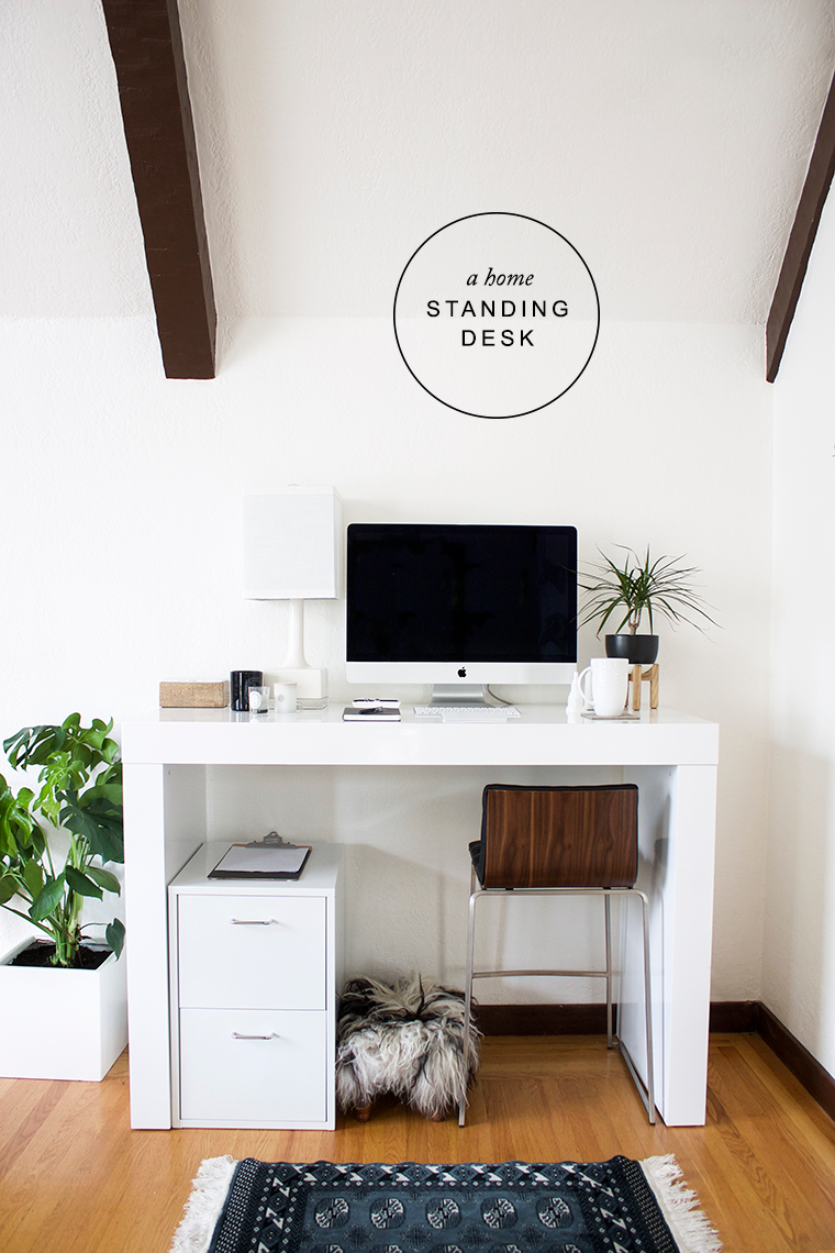 A chic home office with a standing desk from Hayneedle | copycatchic luxe living for less budget home decor and design