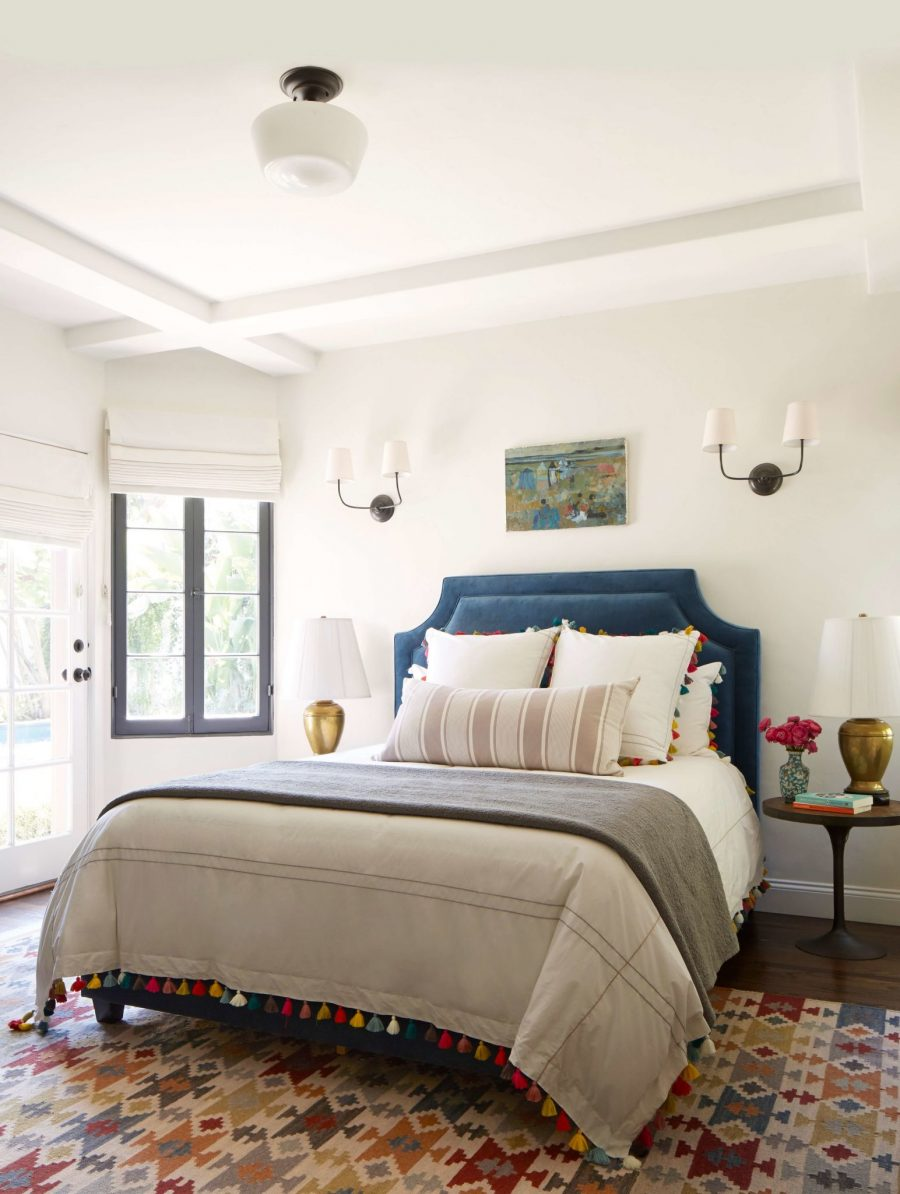 A colorful boho chic bedroom by Emily Henderson gets ... on Boho Bedroom Decor  id=88997