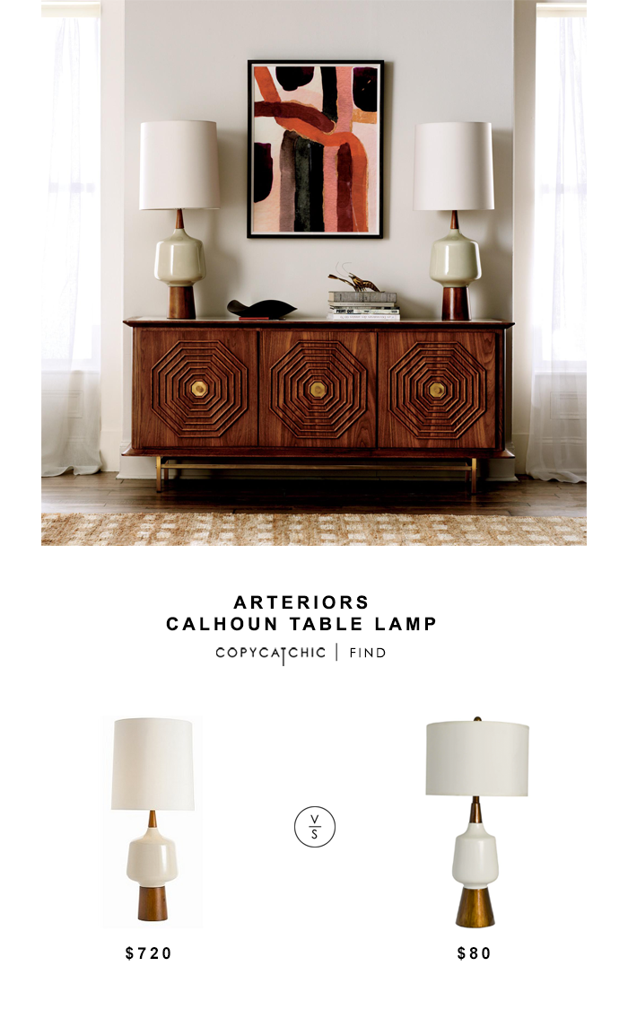 Arteriors Calhoun Table Lamp for $720 vs Decor Therapy Satin White Faux Wood Lamp for $80 copycatchic luxe living for less budget home decor and design