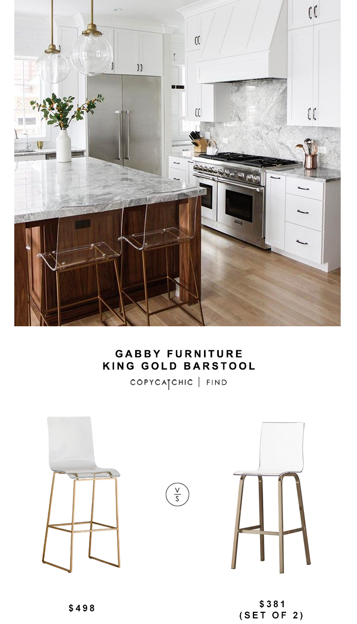 Gabby Furniture King Gold Barstool for $498 vs Miles Clear Acryliuc Swivel bar Stools (set of 2) for $381 copycatchic luxe living for less budget home decor