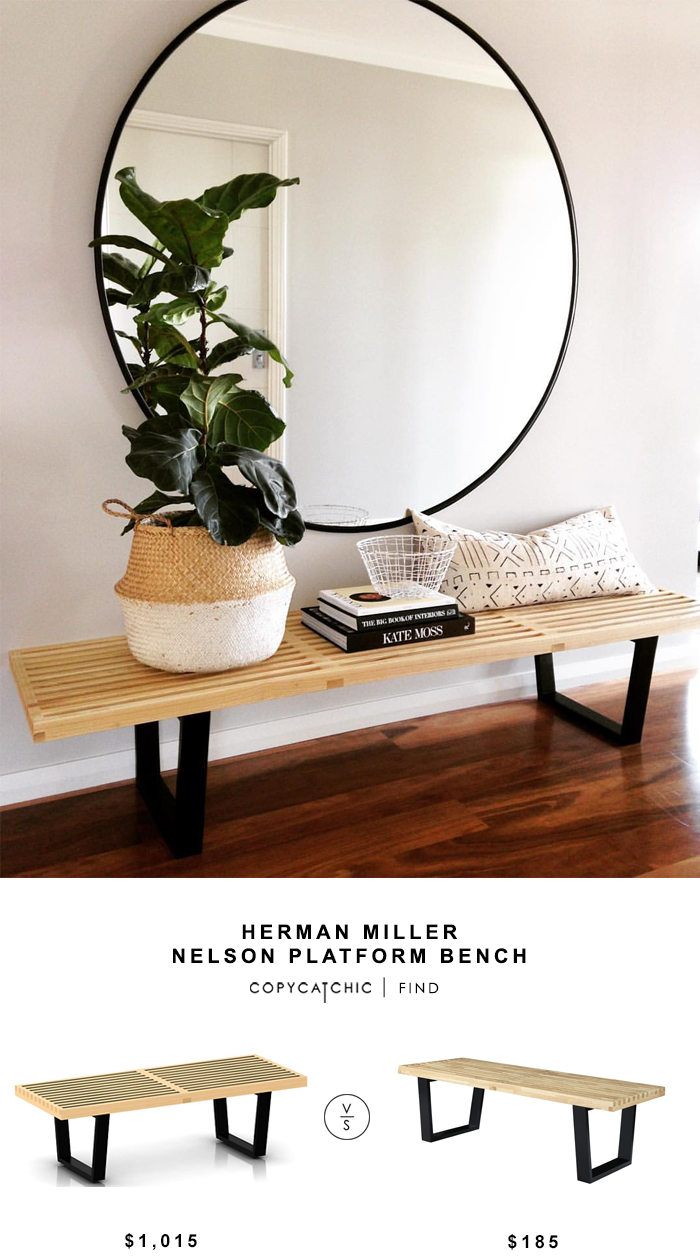 Herman Miller Nelson Platform Bench for $1015 vs Georgbe Nelson Style Bench for $185 copycatchic luxe living for less budget home decor and design