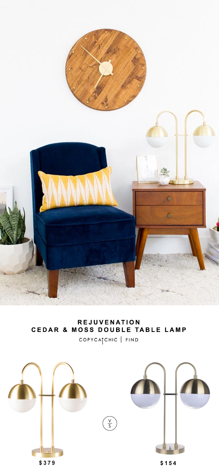 Rejuvenation Cedar & Moss Double Table Lamp for $379 vs Overstock Harlow Table Lamp for $154 copycatchic luxe living for less budget home decor and design