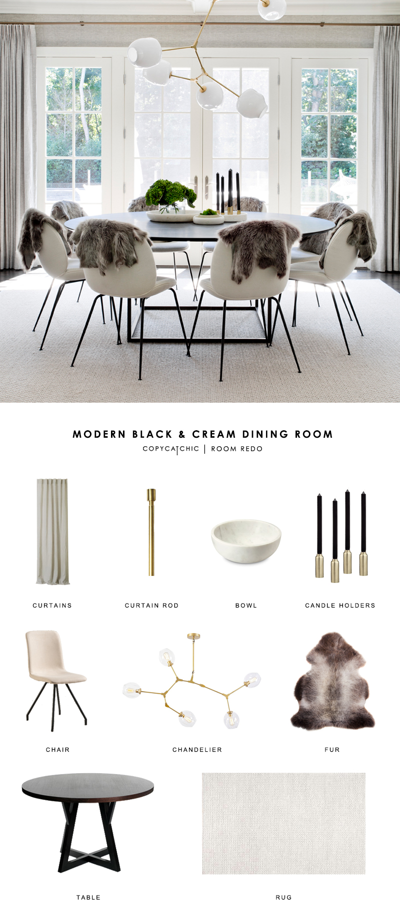 A modern, cream round dining room by Tamara Magel gets recreated for less by copycatchic luxe living for less budget home decor and design room redos