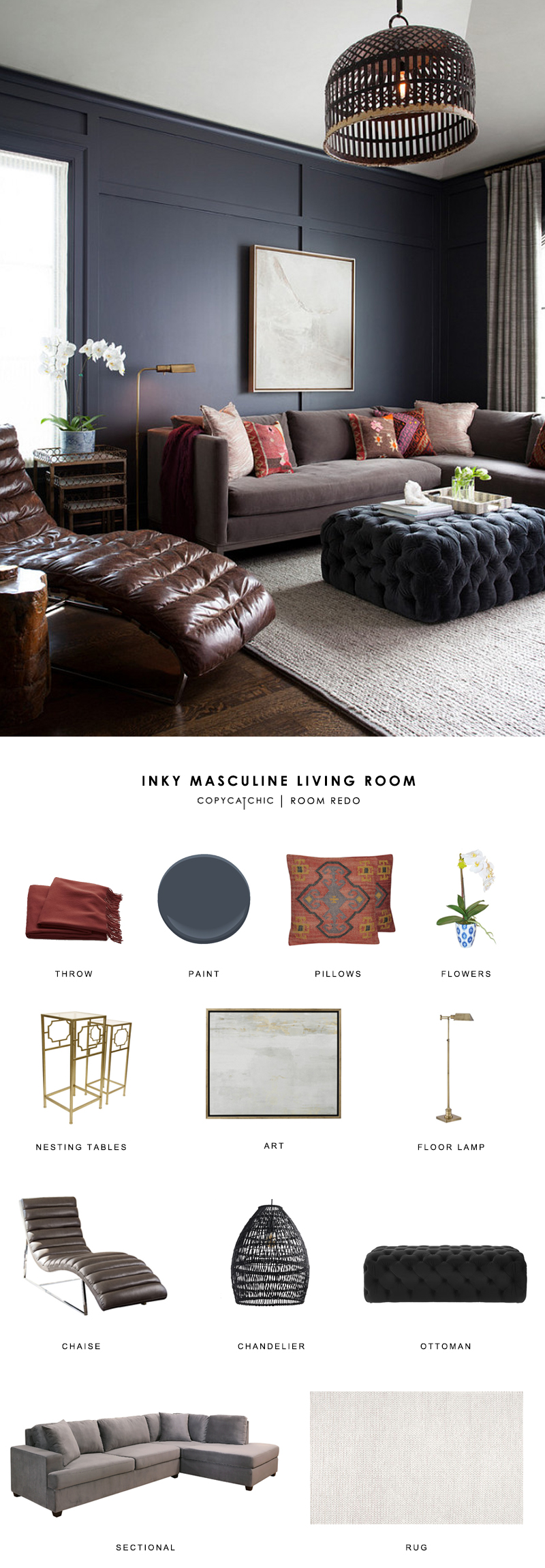 This dark masculine living room by Ryan Street and Associates gets recreated for less by copycatchic luxe living for less budget home decor and design
