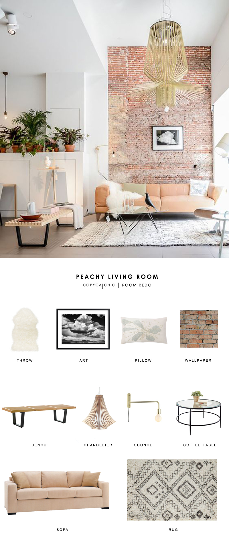 Copy Cat Chic Room Redo | Peachy Living Room - copycatchic