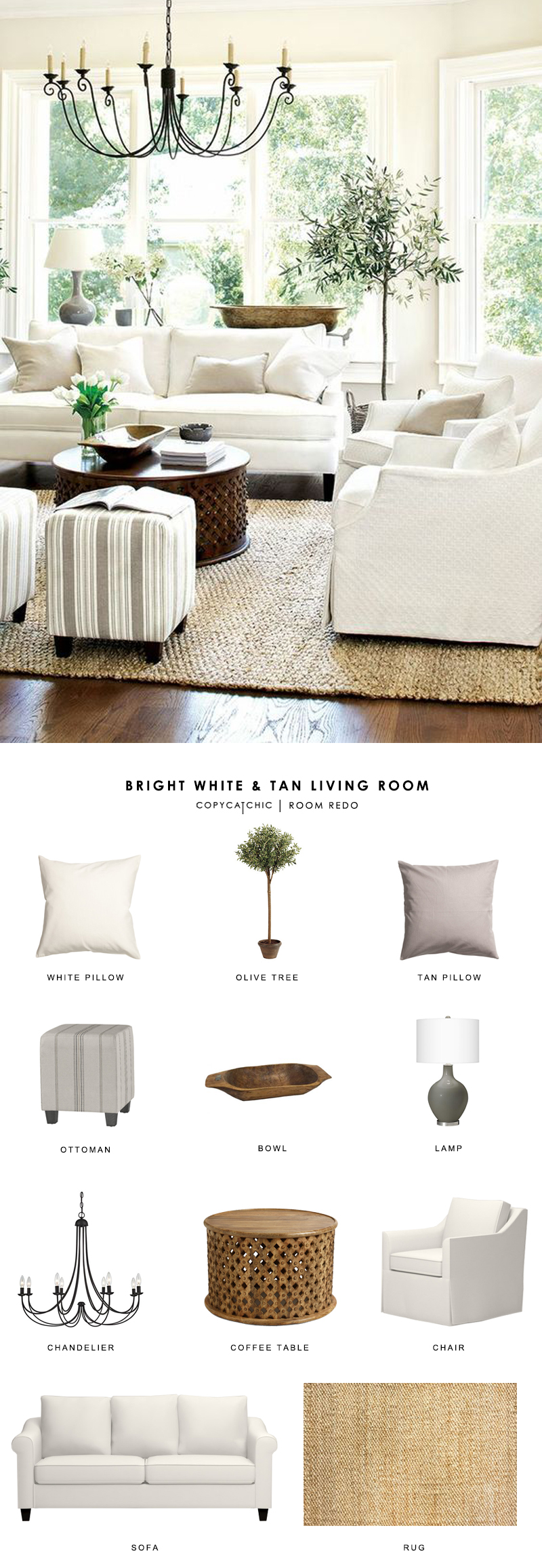 Copy Cat Chic Room Redo Bright White And Tan Living Room Copycatchic