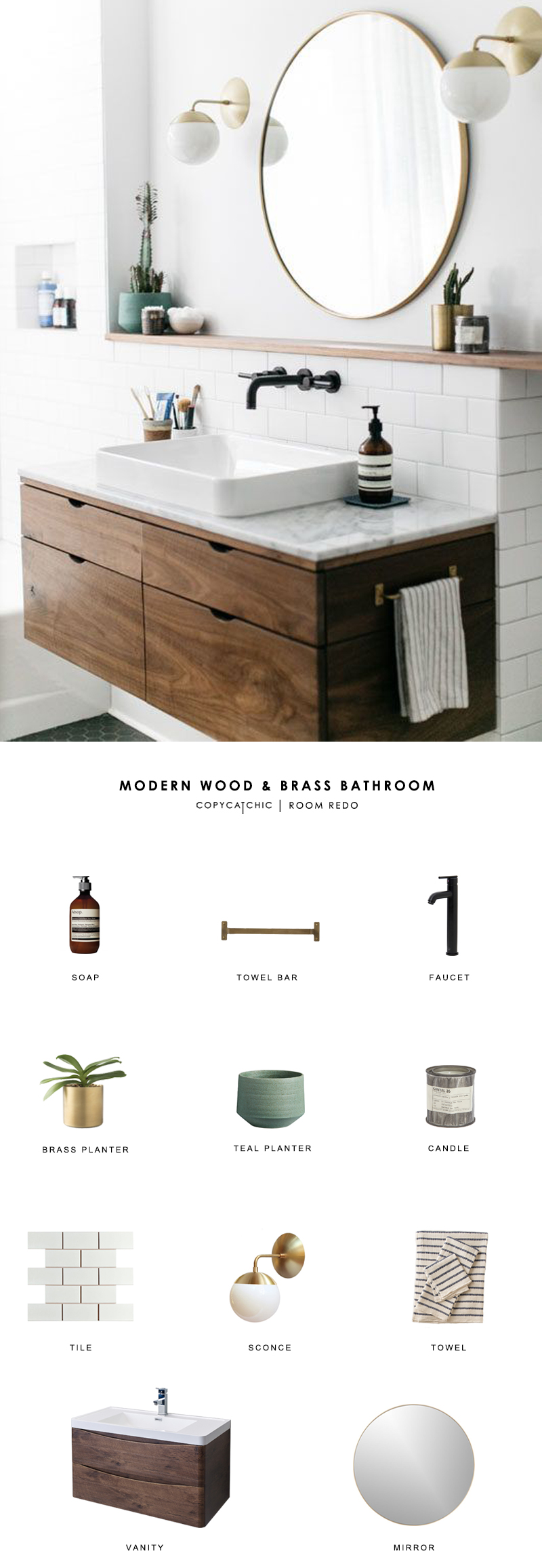 A modern wood and brass bathroom seen on SF Girl by Bay gets recreated for less by copycatchic luxe living for less budget home decor and design