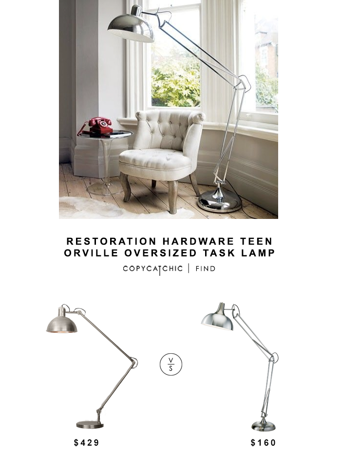 Restoration Hardware Teen Orville Oversized Task Lamp for $429 vs Adesso Atlas Floor Lamp for $160 copycatchic luxe living for less budget home decor design