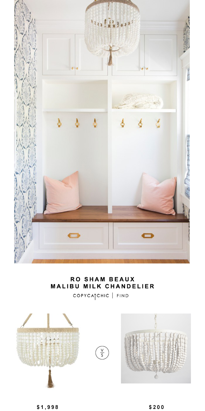 Ro Sham Beaux Malibu Milk Chandelier for $1998 vs World Market Antique Whitewash Wood Bead Chandelier for $200 copycatchic luxe living for less budget home