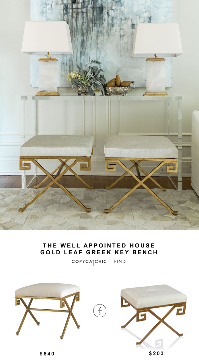 Well Appointed House Gold Leaf Greek Key Bench for $840 vs Overstock Horizon Antique Gold Natural Blend Greek Stool $203 copycatchic luxe living for less