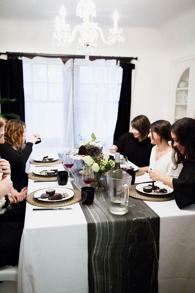We Heart It for Heart Day a Galentine's Day Favorite Things party decorated with mini black hearts and black marble. Budget party decor by copycatchic