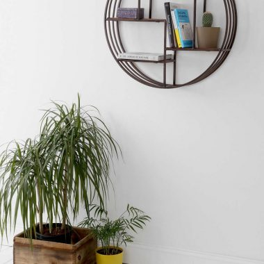 Houzz Pyrat Circle Wall Shelf for $194 vs World Market Mateo Round Wall Shelf for $80 copycatchic luxe living for less budget home decor and design