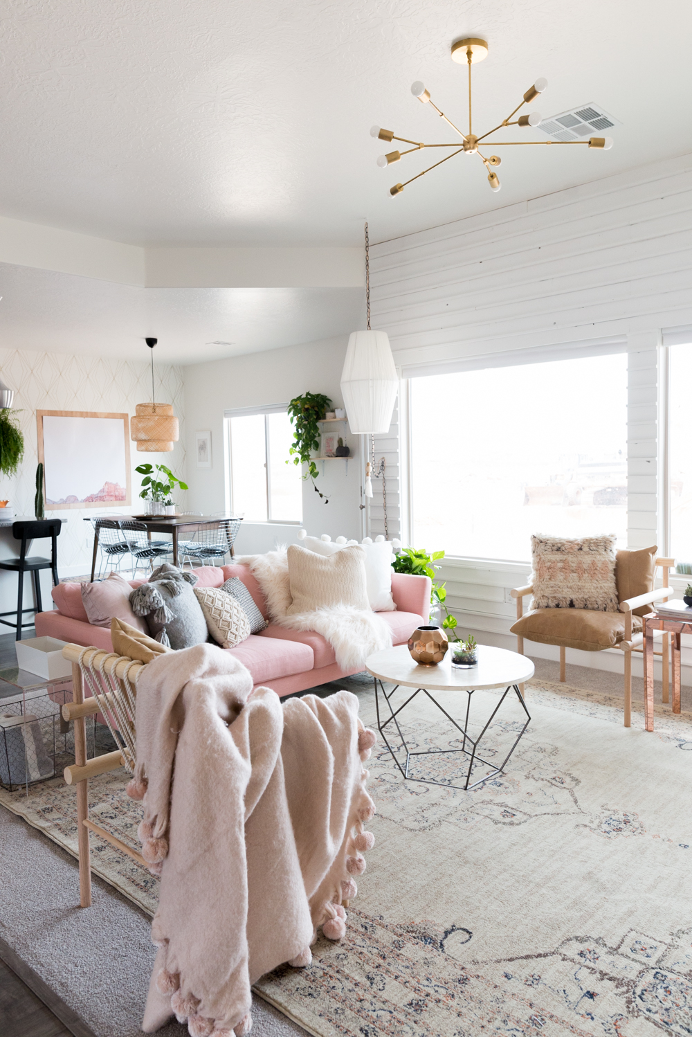 A blush boho living room created by Mandi Gubler from Vintage Revivals gets recreated for less by copycatchic luxe living for less budget home decor design