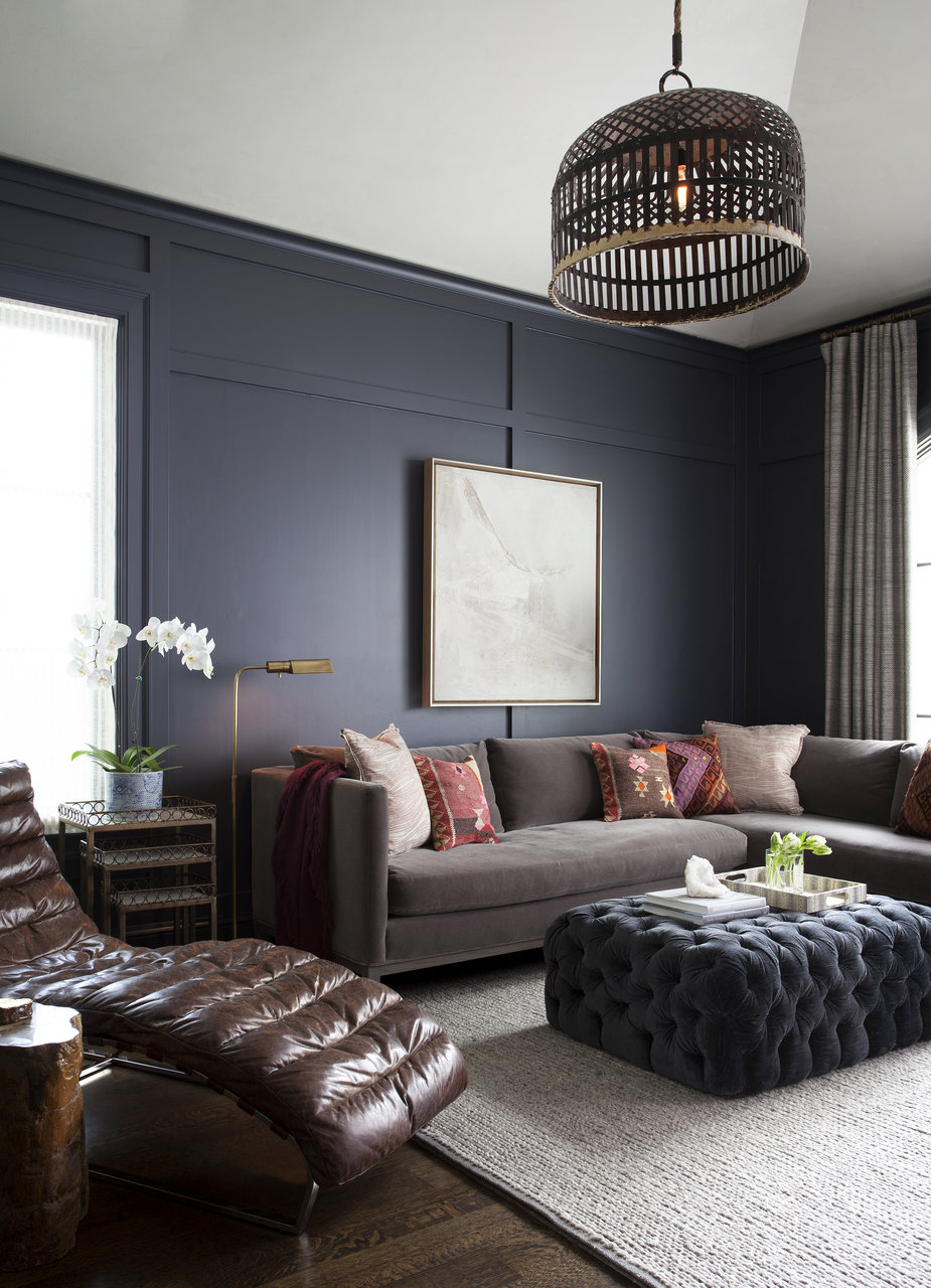 Copy Cat Chic Room Redo Inky Masculine Living Room