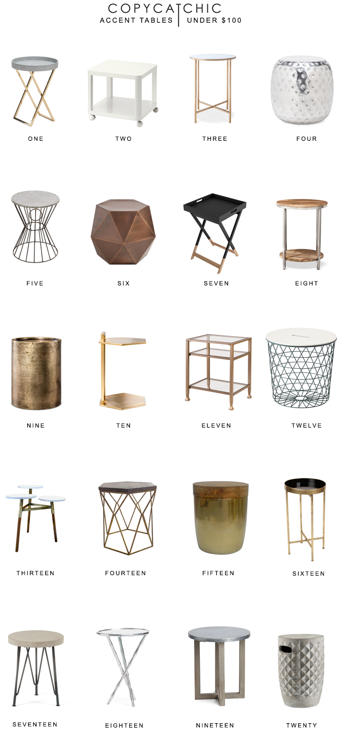 Our favorite accent tables, nightstands, side tables and end tables for under $100 | copycatchic luxe living for less budget home decor and design