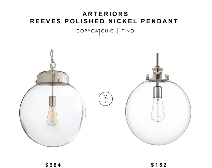 Arteriors Reeves Polished Nickel Pendant for $984 vs Progress Lighting Penn Polished Nickel Pendant for $152 copycatchic luxe living for less budget home