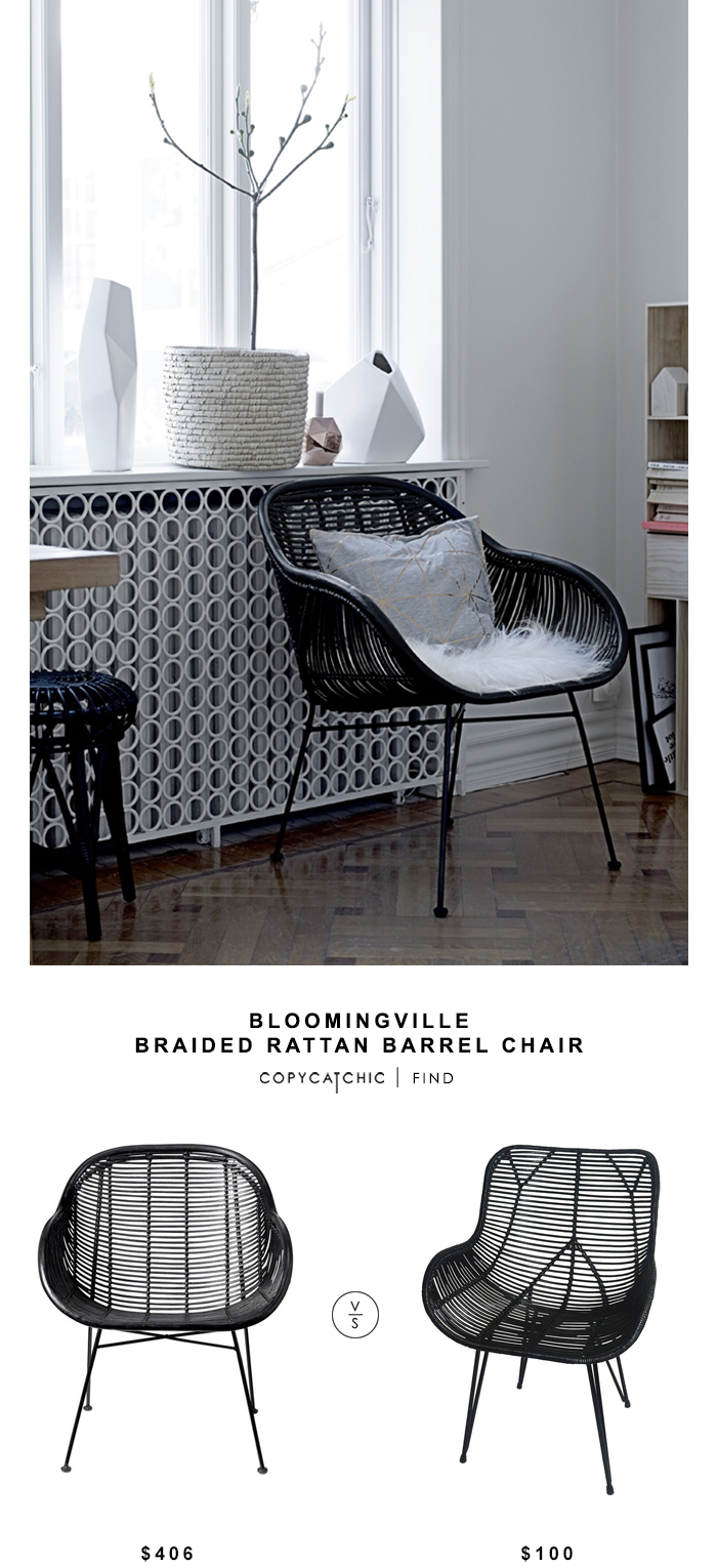 Bloomingville Braided Rattan Barrel Chair Copycatchic