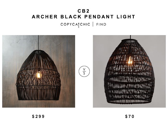 CB2 Archer Black Pendant Laight for $299 vs World Market Black Woven Bamboo Pendant Shade for $70 copycatchic luxe living for less budget home decor design