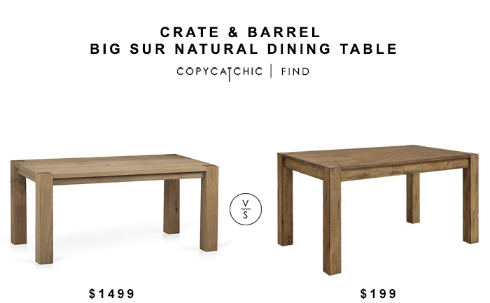 Crate & Barrel Big Sur Natural Dining Table for $1499 vs Better Homes & Gardens Bryant Dining Table for $199 copycatchic luxe living for less budget home