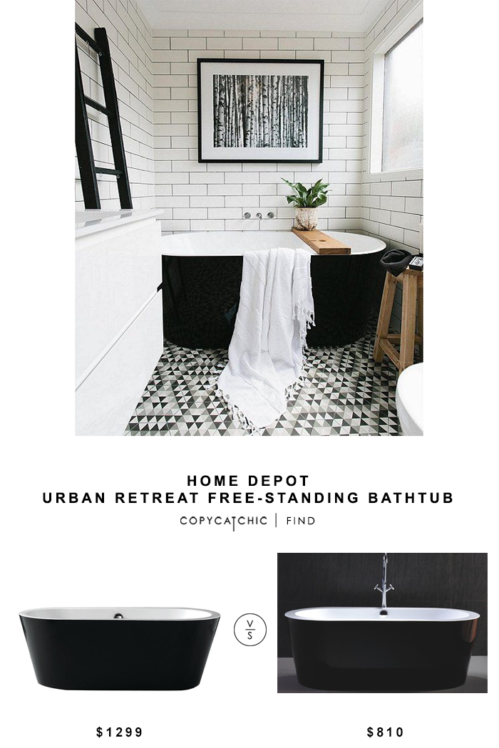 Home Depot Urban Retreat Free-Standing Bathtub for $1299 vs Free-Standing Soaking Bathtub for $810 copycatchic luxe living for less budget home decor