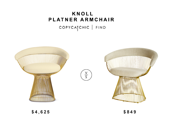 Knoll Platner Armchair Gold for $4625 vs Gilt Platner Accent Chair for $849 copycatchic luxe living for less budget home decor & design look for less