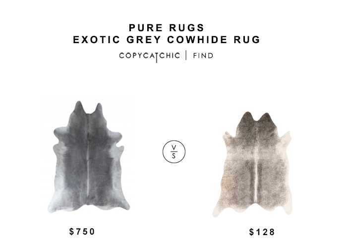 Pure Rugs Exotic Grey Cowhide Rug for $750 vs Overstock Rawhide Grey/Ivory Rug for $128 copycatchic luxe living for less budget home decor and design