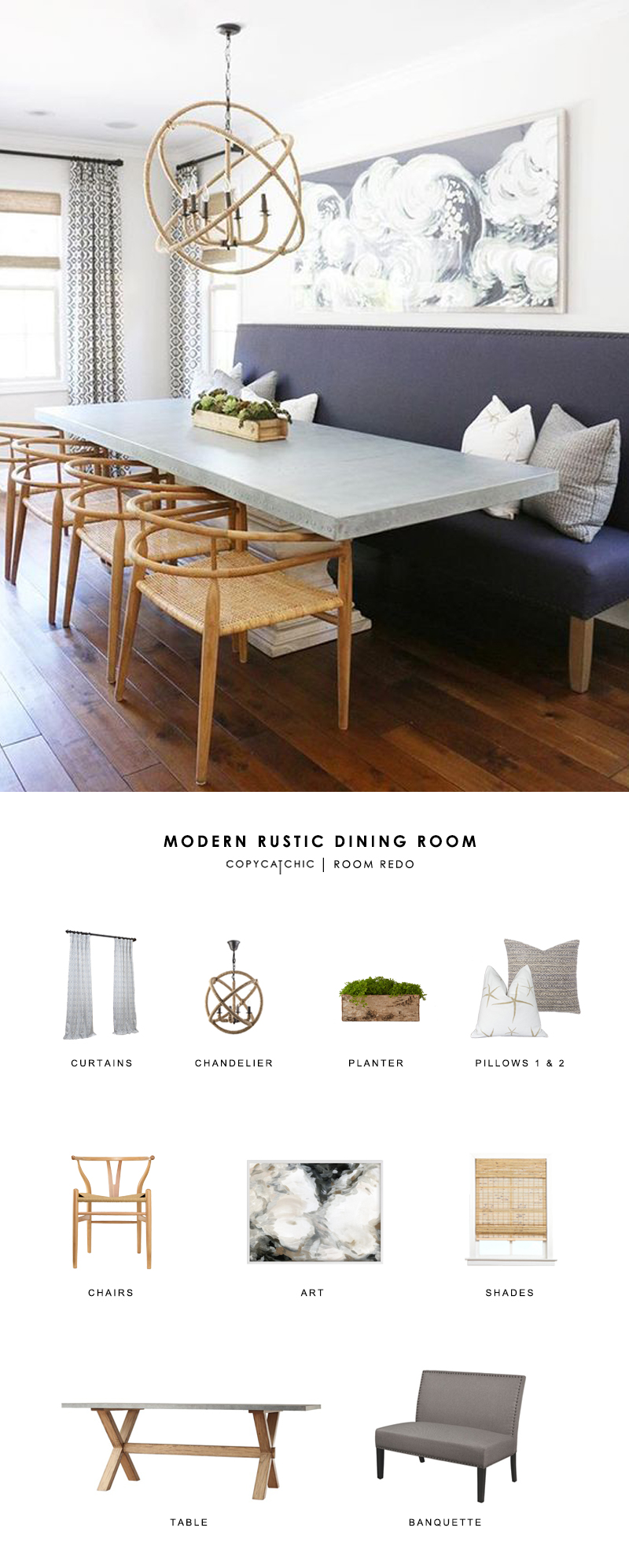 This modern country dining room by Blackband Design gets recreated for less by copycatchic luxe living for less budget home decor and design look for less