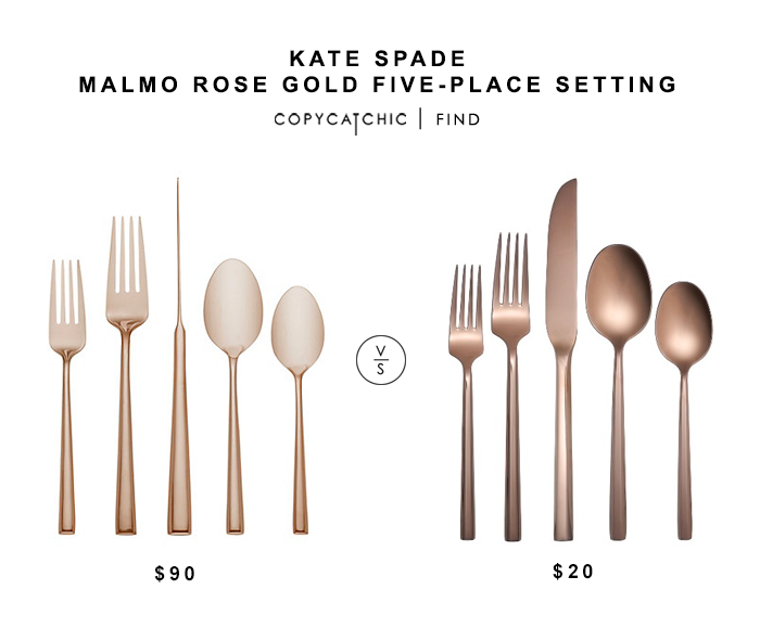 Kate Spade Malmo Rose Gold Place Setting for $90 vs Target Izon Flatware Rose Gold for $20 copycatchic luxe living for less budget home decor and design