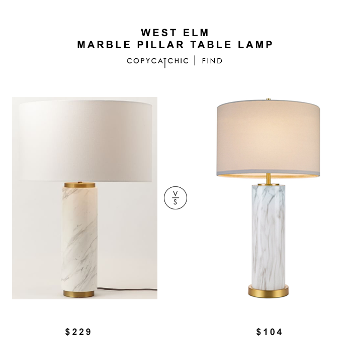 West Elm Marble Pillar Table Lamp for $229 vs Belk Cupcakes and Cashmere Marble Column Table Lamp for $104 copycatchic luxe living for less budget home decor