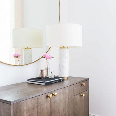West Elm Marble Pillar Table Lamp