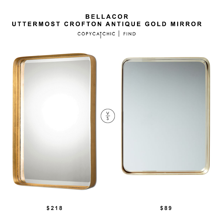 Uttermost Crofton Antique Gold Mirror for $218 vs PBTeen Brass Beauty Mirror for $164 copycatchic luxe living for less budget home decor and design