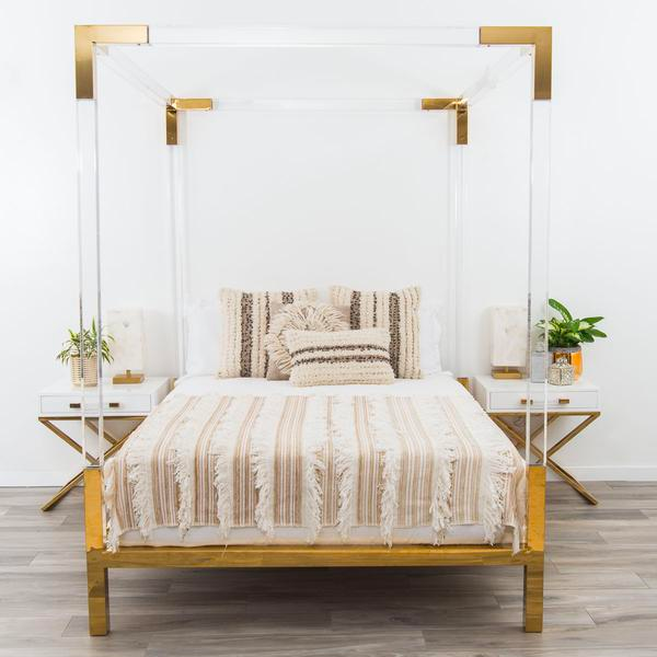 Horchow Hayworth Golden Acrylic Bed Copy Cat Chic
