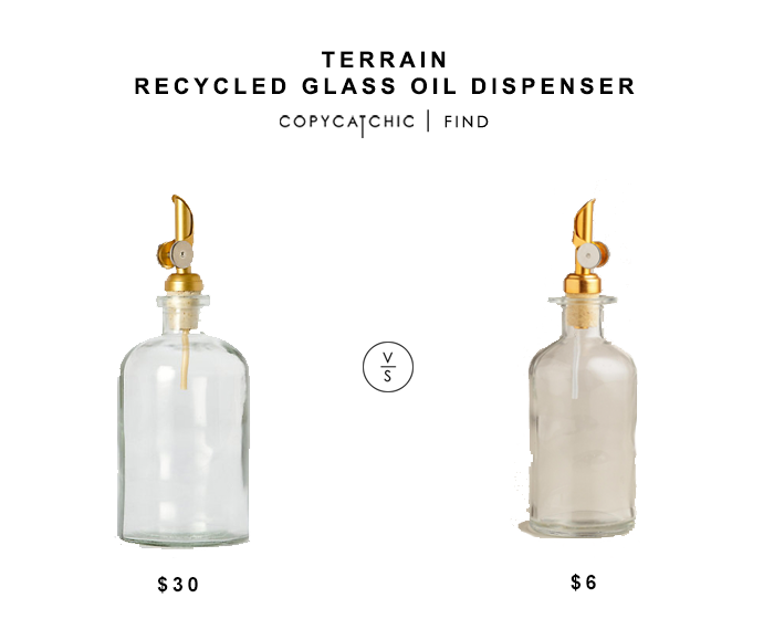 Terrain Recycled Glass Oil Dispenser for $30 vs World Market Glass Oil Bottle with Gold Stopper for $6 copycatchic luxe living for less budget home decor