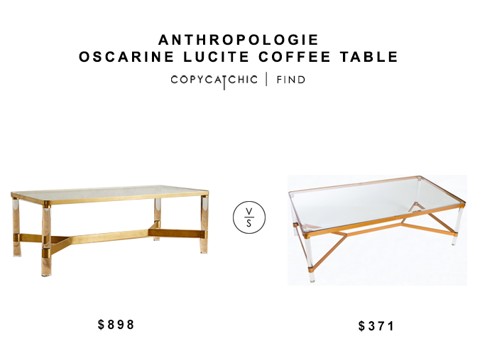 Anthropologie Oscarine Lucite Coffee Table for $898 vs Sears Statements by J Mireille Acrylic Coffee Table for $4371 copycatchic luxe living for less