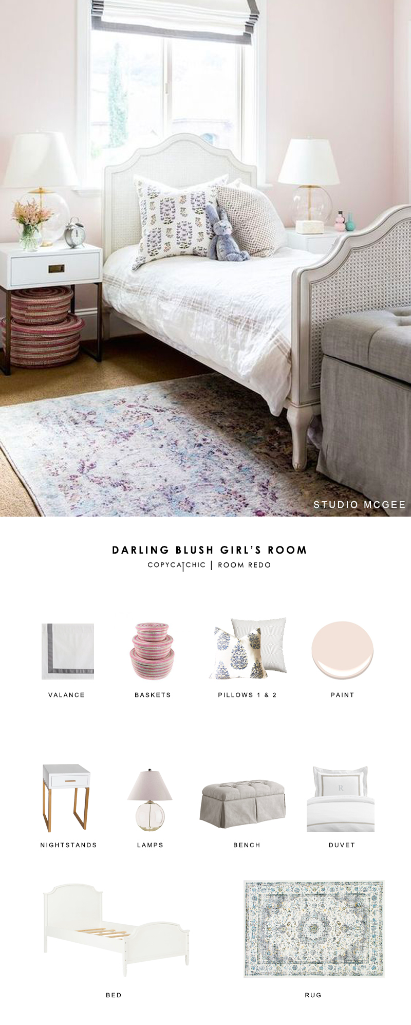 A sweet blush girl's bedroom designed by Studio McGee gets recreated for less by copycatchic luxe living for less budget home decor and design room redos