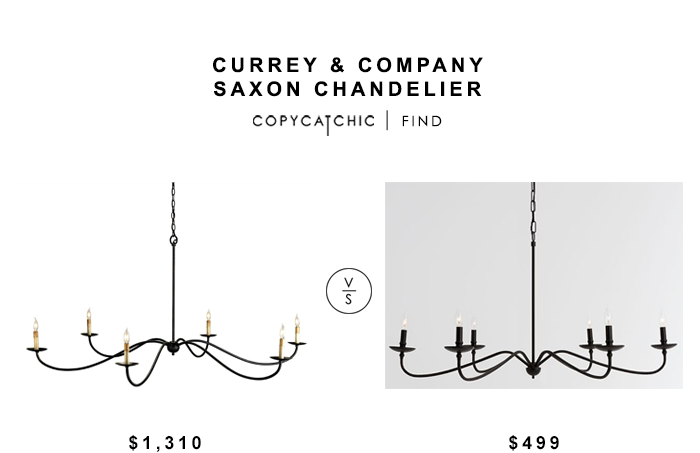 Currey And  pany Saxon Chandelier on entryway console table and mirror