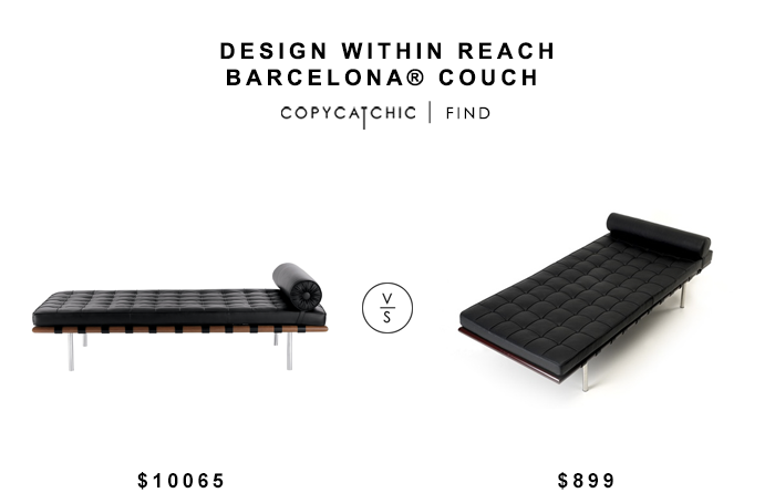 Design Within reach Barcelona Couch for $10,065 vs Instyle Modern Pavilion Leather Daybed $899 copycatchic luxe living for less budget home decor & design